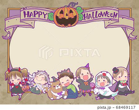 ハロウィンの仮装をした子供たちのフレーム 68469117