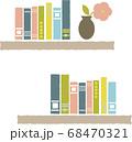 棚にたくさん並んだ本と1輪ざしの花びん2 68470321