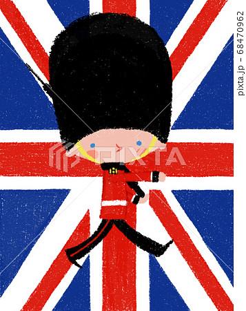 イギリスの衛兵と国旗 68470962