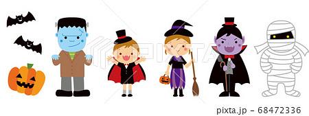 ハロウィン 仮装した子供たちとモンスター 68472336
