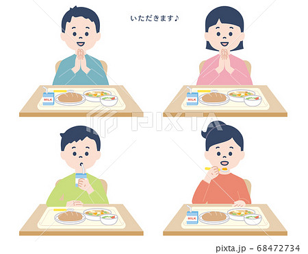 小学生_給食の時間 68472734