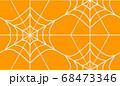 蜘蛛の巣イメージのシンプルでシームレスな幾何学柄、オレンジベース 68473346
