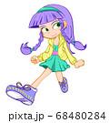 三つ編みオカッパの女の子 68480284
