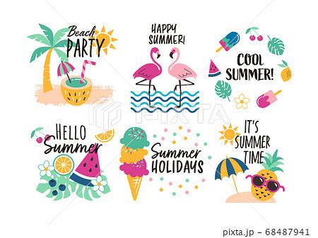 夏のアイコン素材セット 68487941