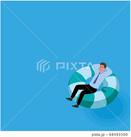 浮き輪に乗るビジネスマン ブルーオーシャン イメージ イラスト 68493500