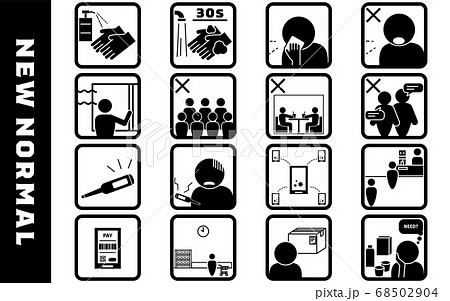 コロナによる新しい生活様式のアイコンイラストセット 68502904
