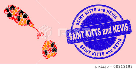 Saint Kitts and Nevis Map Mosaic of Flame and Buildings and Grunge Saint Kitts and Nevis Stamp 68515195