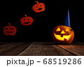 Halloween pumpkin head jack lantern on wooden background 68519286