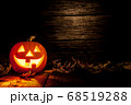 Halloween pumpkin head jack on wooden background 68519288