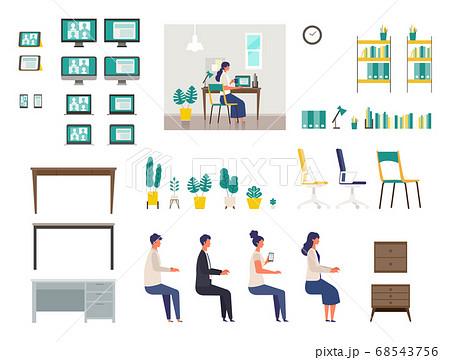 テレビ会議をするホームオフィスのイラストパーツ 68543756