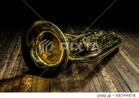 golden brass wind instrument euphonium lies on a 68544878