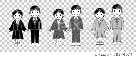 白黒 ブレザーの制服を着た学生の男女 68544974