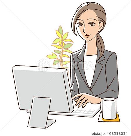 デスクワークをするビジネス女性 68558034