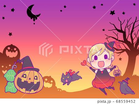 ハロウィン背景素材_魔女 68559452