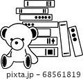 【線画】9冊の積み重ねられた本とテディベアのぬいぐるみ 68561819