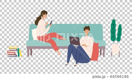 使用智能手機連接到互聯網的男人和女人的插圖 68566198