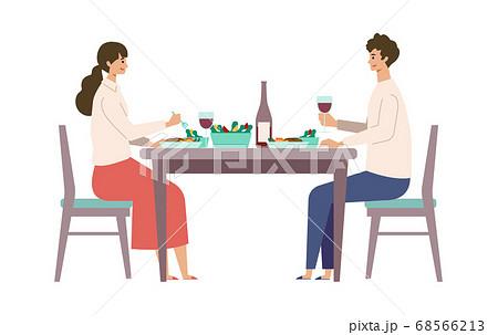 食事を楽しむ男女のイラスト 68566213