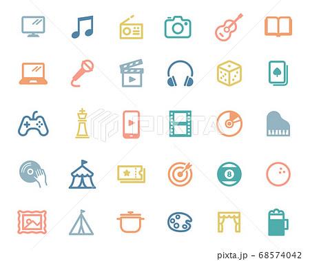 エンターテイメントのシンプルなアイコンのセット/遊び/ゲーム/趣味/イベント/音楽 68574042