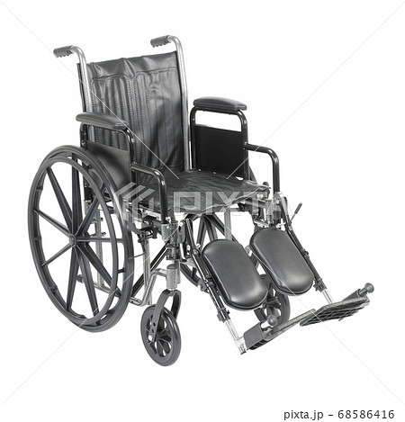 Wheelchair with Padded Arms and Elevating Leg Rest  Isolated on White Background. Side View of Black Wheelchair. Medical Equipment. Transport Chair 68586416