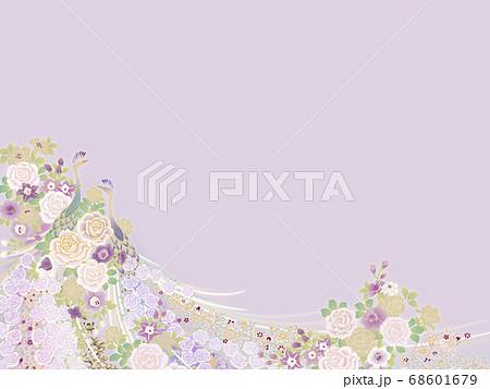 孔雀と小花のテンプレート 68601679