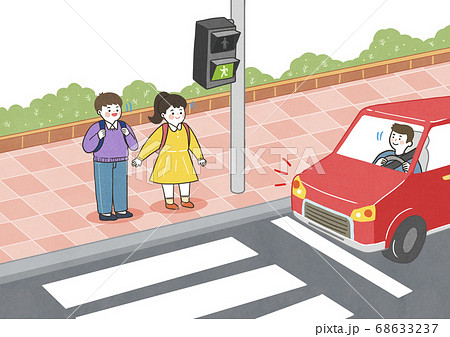 Children safety concept, Crossing road traffic education illustration 001 68633237