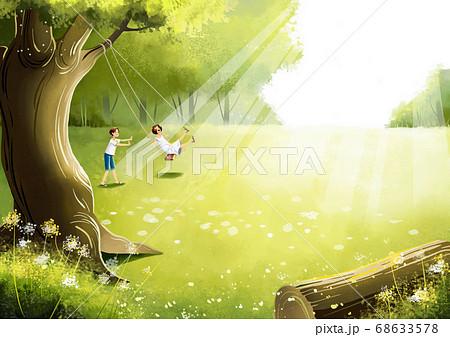 Summer fantasy forest landscape illustration 003 68633578