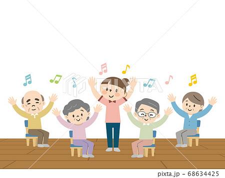 介護施設でレクリエーションを楽しむ高齢者 68634425