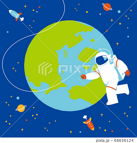 地球と宇宙飛行士  68636124