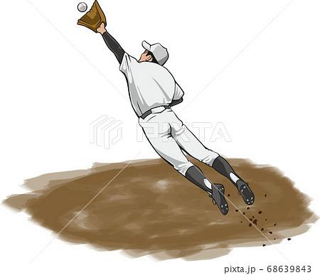 野球選手がジャンピングキャッチをしているイメージイラスト 68639843