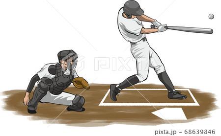 バッティングのイメージイラスト(野球選手) 68639846