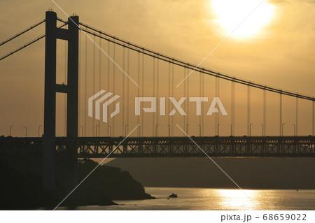 《岡山県》晴れの日、夕暮れの久須美鼻からの風景 68659022