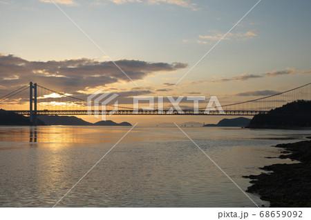 《岡山県》晴れの日、夕暮れの久須美鼻からの風景 68659092