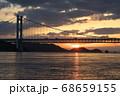 《岡山県》晴れの日、夕暮れの久須美鼻からの風景 68659155
