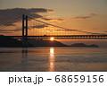 《岡山県》晴れの日、夕暮れの久須美鼻からの風景 68659156
