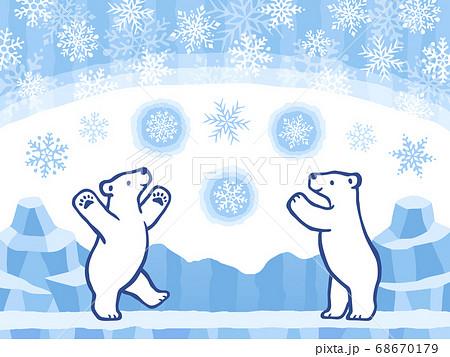 しろくまと雪と氷の背景の手描き風イラストセット 68670179