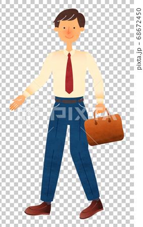 一個穿著西裝的年輕人走著一個商務袋 68672450