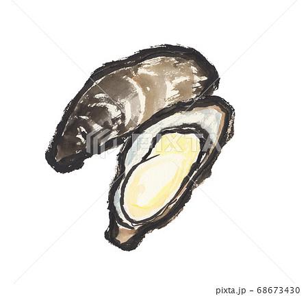 墨で描いた牡蠣のイラスト 68673430