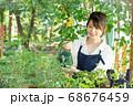 ガーデニングをする若い女性 撮影協力:三富今昔村 68676459