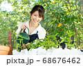 ガーデニングをする若い女性 撮影協力:三富今昔村 68676462