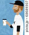 コーヒーを飲む野球選手 68689307