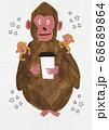 コーヒーを飲むサル 68689864