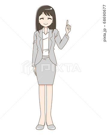 スーツを着て指をさしている笑顔の女性 68690677