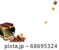 秋の紅葉や焼き芋と七輪のイラスト背景素材 68695324