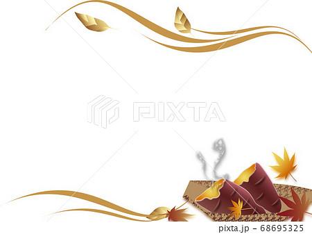 秋の紅葉や焼き芋のフレーム背景素材 68695325