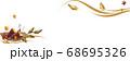 秋らしい焼き芋と七輪と紅葉のイラストバナー素材 68695326