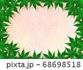 緑の紅葉のフレーム 金混じり桃色和紙 68698518