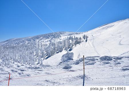 冬晴れの蔵王温泉スキー場と樹氷群 68718963