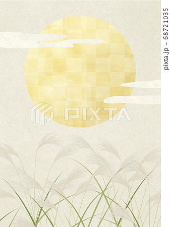 満月-中秋の名月-お月見-すすき-和風イラスト 68721035