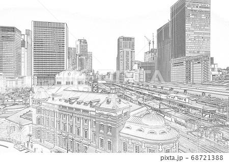 《駅風景》東京駅 丸の内口 俯瞰《スケッチ》 68721388