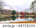 駒ヶ池の紅葉、リフレクション。長野県駒ヶ根市 68728104